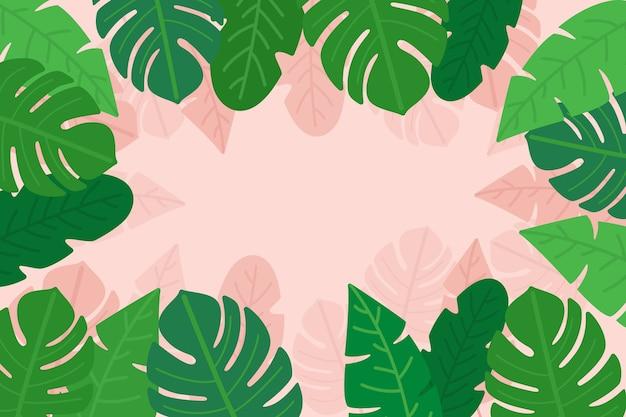 Листья пальмы и монстера с копией пространства