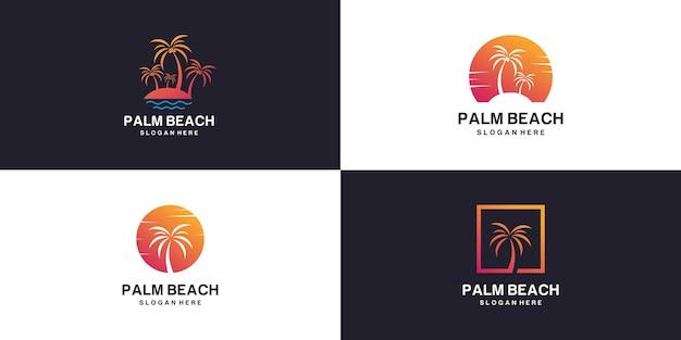 Коллекция логотипов пальмового пляжа с креативной концепцией premium векторы