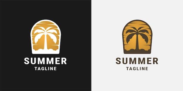 Шаблон дизайна логотипа пальмового пляжа