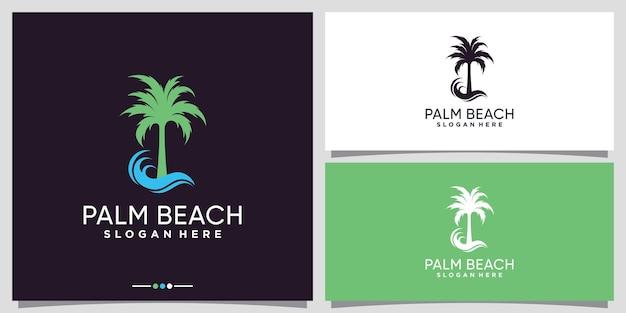 Palm and beach logo design with creative concept premium vector