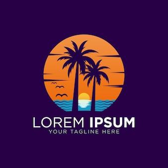 Шаблон логотипа палм-бич