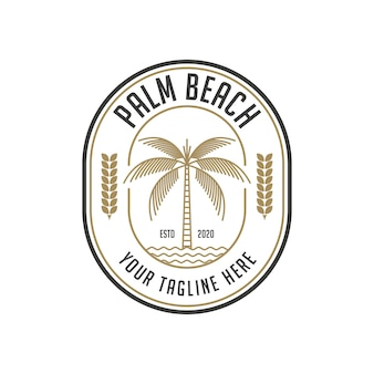 Палм-бич старинный логотип дизайн шаблона