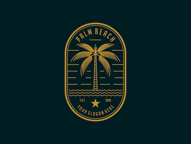 Palm beach vintage logo design template