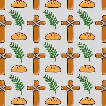 クロスとパンの背景とヤシの枝