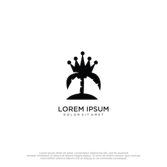 Palm crown logo design template