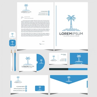 Palm design logos with stationery