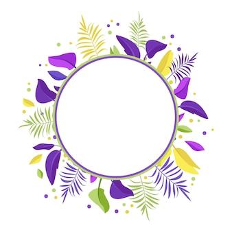 パームエキゾチックな葉の花輪またはラウンドフレームの夏のお祭りの装飾