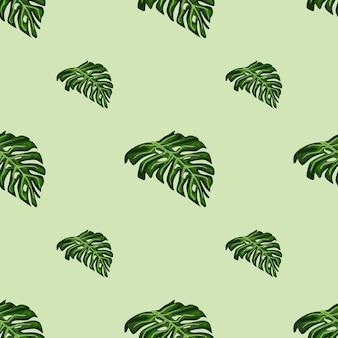 ミニマルな緑のモンステラの葉のプリントとヤシの葉のシームレスなパターン。パステルカラーの背景。季節のテキスタイルプリント、ファブリック、バナー、背景、壁紙のベクトルイラスト。