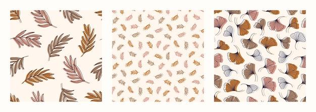 パーム銀杏ビロバは、トレンディなミニマルスタイルでシームレスなパターンを残します。熱帯のヤシの背景の概要。ベクター