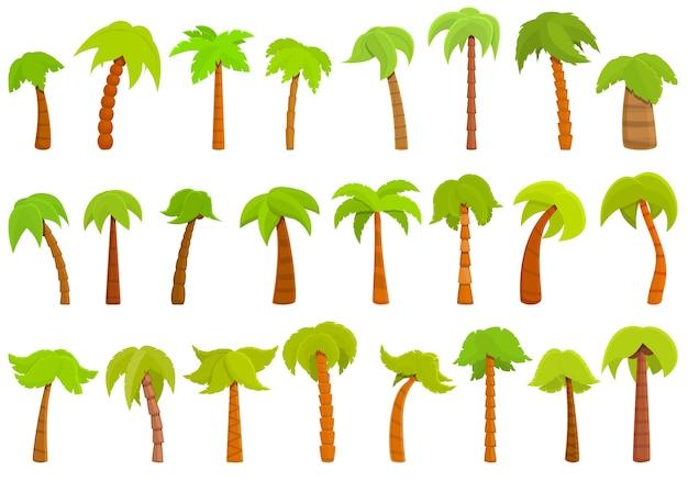 Набор иконок ладони. пальмовые иконки