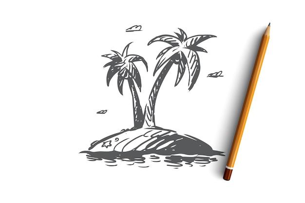 Пальма, остров, дерево, лето, концепция пляжа. рука нарисованные пальмы на эскизе концепции тропического острова. иллюстрация.