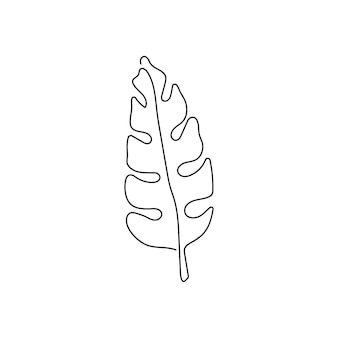Palm leaf continuous line drawing one line art of leaves plants herb leaves jungle botanical