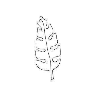 ヤシの葉の連続線画葉の1つの線画植物ハーブの葉ジャングル植物
