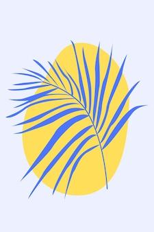 自由奔放に生きるスタイルのヤシの葉ミニマリストabstarctファッションアートワークベクトルフラットシンプルなイラスト