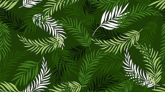 ヤシの葉のパターン。緑の熱帯の葉の壁紙。エキゾチックな木の植物の背景。夏の植物のベクトルのシームレスなテクスチャ。ヤシの葉、ハワイの熱帯植物のイラスト