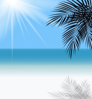 Palm leaf and sea horizon illustration