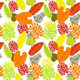 ヤシの葉の抽象的なカラフルな明るいパターン背景