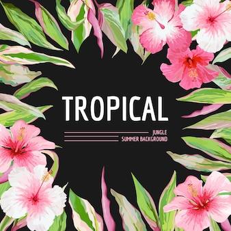 Пальмовые листья и тропические цветы фон. графический дизайн футболки в векторе