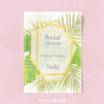 Palm leaves bridal shower card template