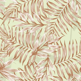 Palm leaves brown pattern