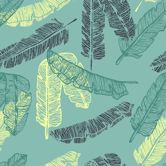 Palm leaves colorful line hand drawn seamless pattern