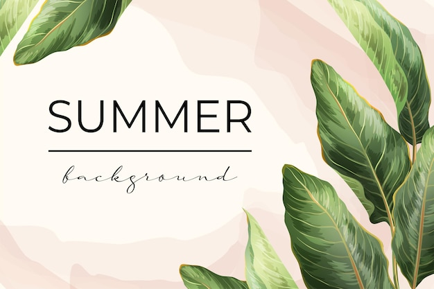 Palm leaves frame background with place for text