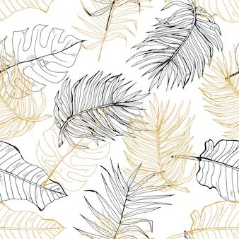 Palm leaves gold line hand drawn seamless pattern