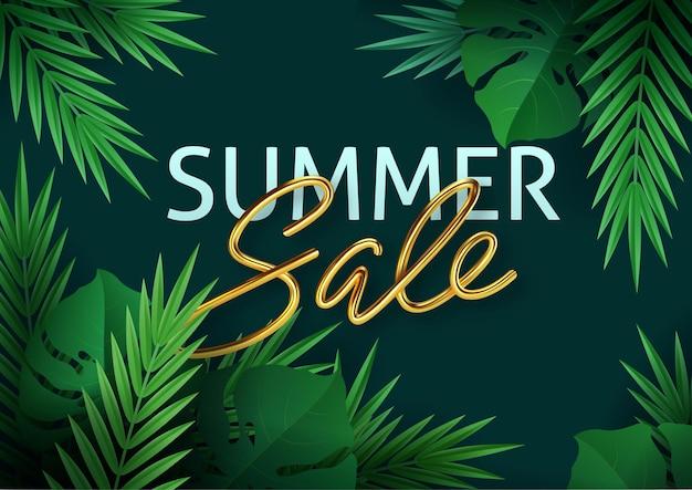 Пальмовые листья, листья джунглей и золотые надписи. летняя распродажа. Premium векторы