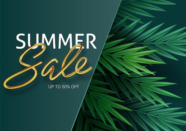 Пальмовые листья, листья джунглей и золотые надписи. летняя распродажа.