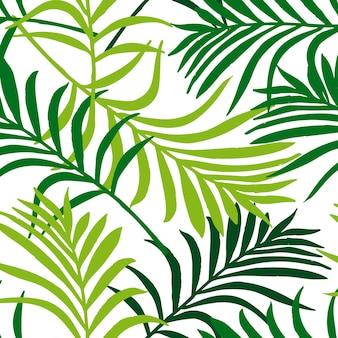 ヤシの葉のパターン。熱帯の葉とのシームレスなエキゾチックなパターン。シルエット熱帯の葉のベクトルイラスト。