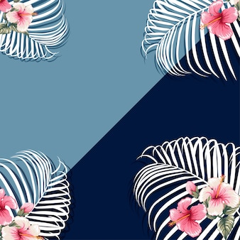 Palm leaves and pink hibiscus flowers blue background.