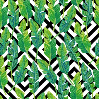 Palm leaves seamless pattern black white geometric design