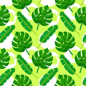 Пальмовые листья бесшовные модели.