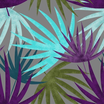 Palm leaves seamless pattern.