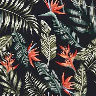 Palm leaves tropical flowers seamless pattern wallpaper