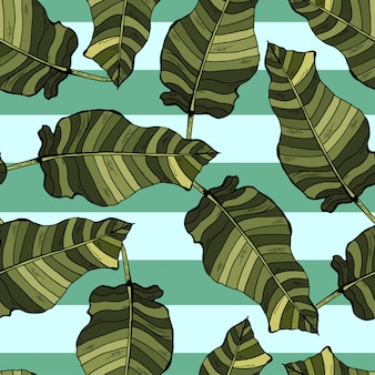 Palm leaves tropical seamless pattern