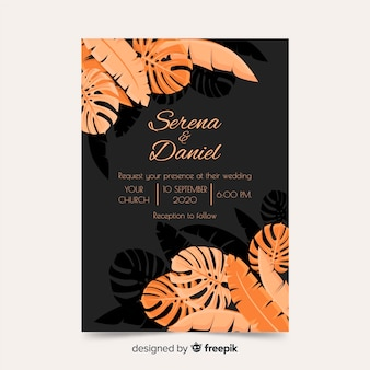 Palm leaves wedding invitation template