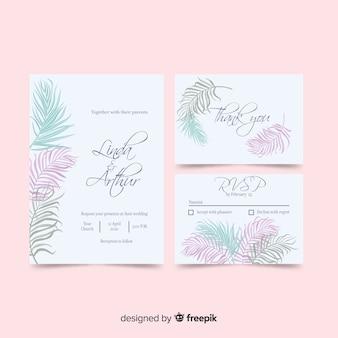 Пальмовые листья свадебные приглашения шаблон