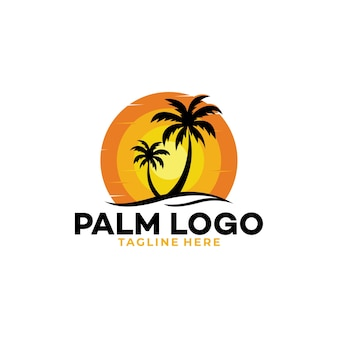 Palm logo icon silhouette for transport and travel company