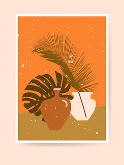 Palm and monstera leaves, clay pots. boho home decor. modern abstract still life print. contemporary minimalist art. nursery decoration, wall art. neutral terracotta colors, earth tones. vector
