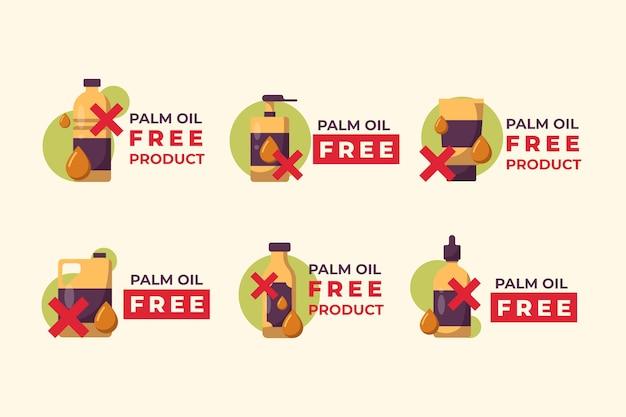Collezione di segni di prodotti senza olio di palma