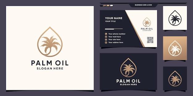Логотип пальмового масла с каплями и линиями в стиле арт и дизайном визитной карточки