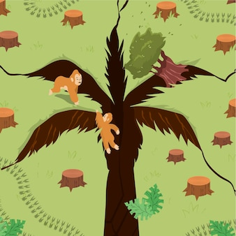 Palm oil producing industry concept illustrated