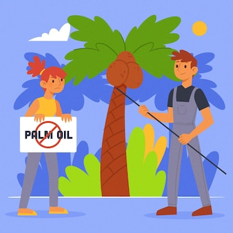 Palm oil producing industry concept
