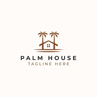 Palm resort logo template isolated in white background