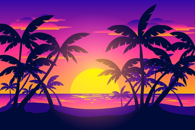 日没の背景でヤシのシルエット