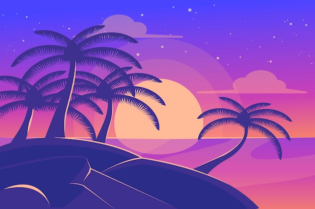 Palm silhouettes background concept