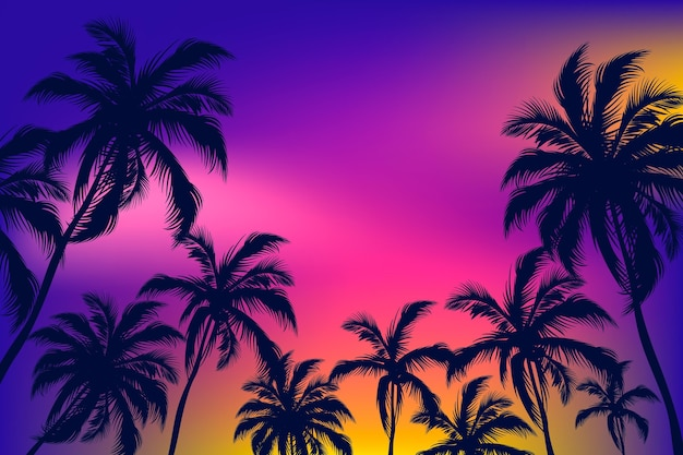 Palm silhouettes background design
