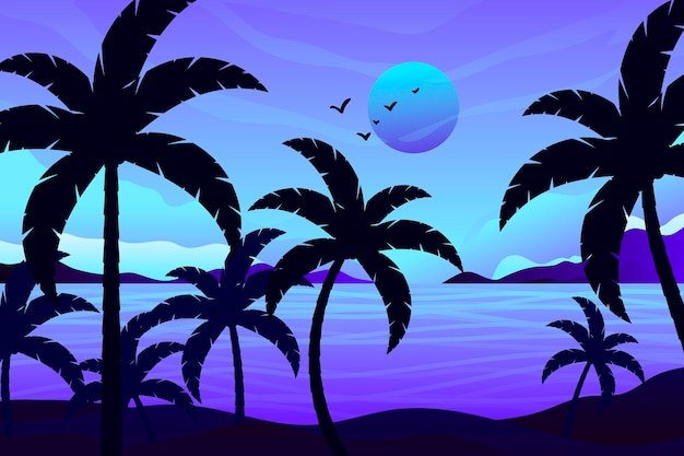 Palm silhouettes background theme