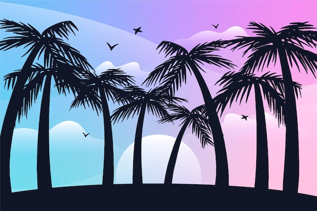 Palm silhouettes background